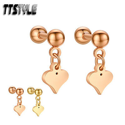 TTstyle Surgical Steel Dangle Cartilage Tragus Heart Earrings Pair Gold/Rose
