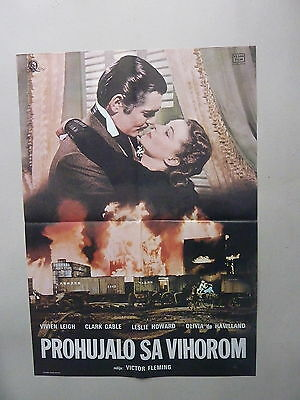 Gone With The Wind / Gable / Leigh (1939/usa) Original Yugoslavian Movie Poster