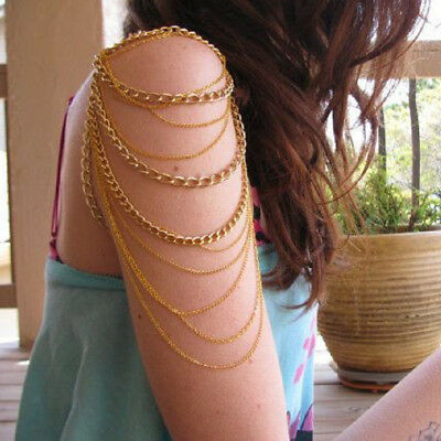 Cool Punk Girls Multichain Gold Necklace Arm Shoulder Body Chain Jewelry