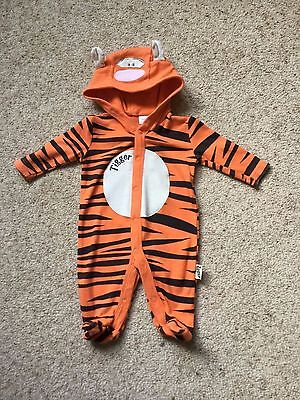 Baby Boys Tigger Hooded Babygrow/onesie From Disney  Age To 1 Month  Great Cond