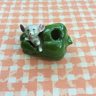 A Vintage Mouse In A Green Pepper Ornament~Toothpick Holder