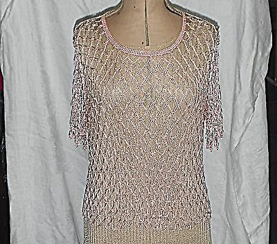 Vintage Peach Silk Crochet Top Embellished With Tiny Faux Pearls Very Stretchy S