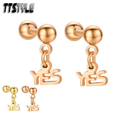 TTstyle Surgical Steel Dangle Cartilage Tragus YES Earrings Pair Gold/Rose