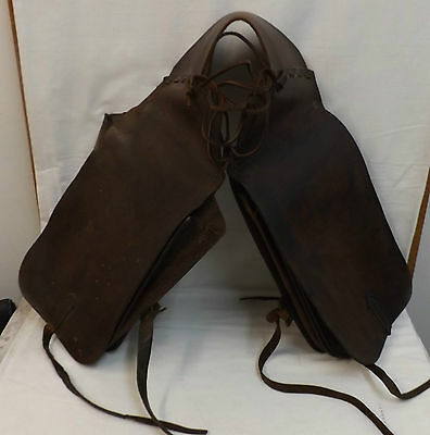 Vintage Western Style Throw Over Leather Saddle Bags - Horse/Motorcycle/Reenact