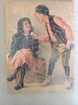Vintage Hand Cut Wooden Jigsaw Puzzle Youthful Lovers 1930s
