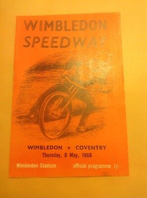 Wimbledon v Coventry speedway programme, 9 May 1968