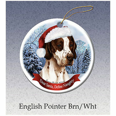 English Pointer Brown Howliday Porcelain China Dog Christmas Ornament