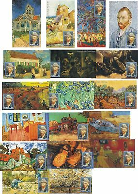Van Gogh Paintings 18 Souvenir Sheets Sheets Mnh Imperforated
