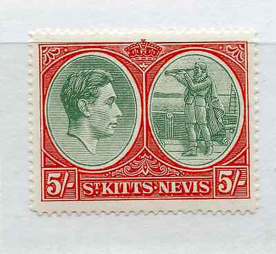 ST KITTS NEVIS 1938-50 5/- green and scarlet vermillion perf 14 mint hinged.