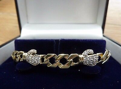 9ct Solid Gold Baby/ Toddler Curb Boxing Glove CZ Bracelet 7.5 grams RRP £345