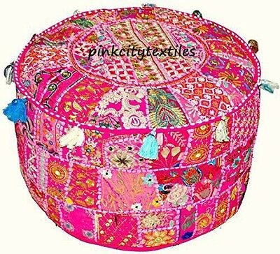 Handmade Round Pink  Seating Pouf Cover Foot Stool Bohemian Patchwork Ottoman ,