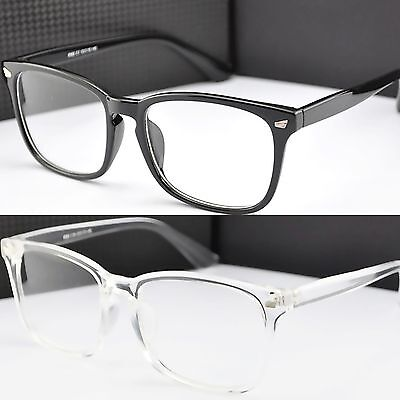 Black Acrylic Square Frame Clear Lens Fashion Glasses  Women's Mens