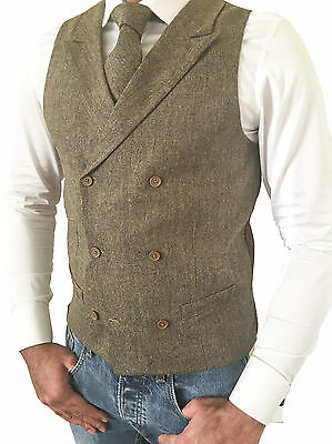 Mens Wool Blend Double Breasted Tweed Brown Tailored Fit Waistcoat Vest