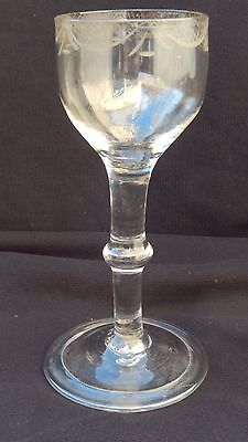 Fine Quality&very Early Wine Glass Knopped Stem Engraved Decoration Folded Foot