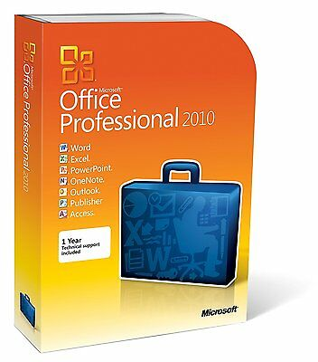 Genuine Microsoft Office 2010 Pro Plus with DVD and product key (5pc+)