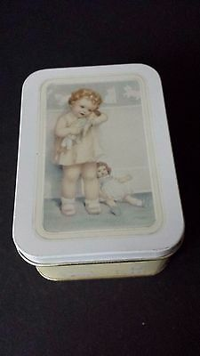 Small Square White Tin Little Girl with Baby Doll and Kittens
