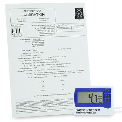 Certified Calibrated Fridge Thermometer with Audible Alarm Accuracy ± 1 ºC