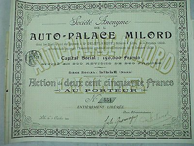 action auto palace milord lille 1909 action 250 francs 29 coupons