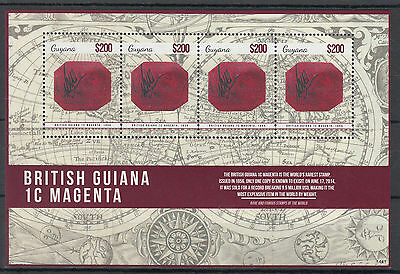 Guyana 2014 MNH British Guiana 1c Magenta 4v M/S I Rarest Most Famous Stamps