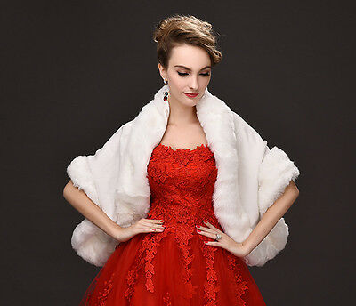 NEW Ivory Women's Faux Fur Warm Dress Shawl Wraps for Winter Weddings