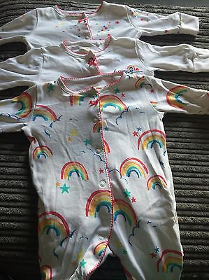 Next Baby Girls Rainbow Sleepsuits Up To 1 Month