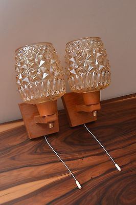Fabulous Pair of Mid Century Vintage Teak and Glass Wall Lights