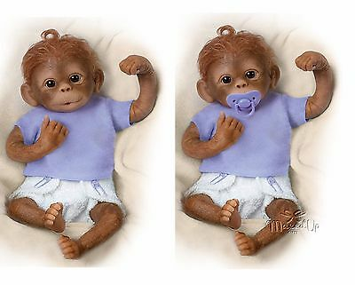 Ashton Drake Jo Jo Baby Monkey Doll Jojo With Dummy - Pacifyer - Poseable