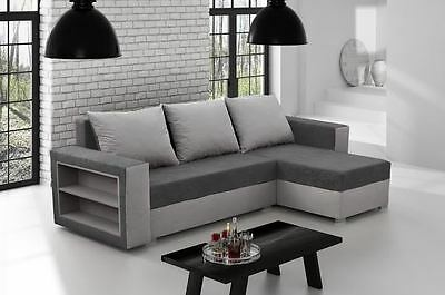 Brand New Corner Sofa Bed Madras GREY With Underneath Storage FAST DELIVERY