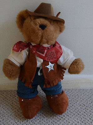 Vintage Chad Valley sheriff teddy bear + soft toy rabbit