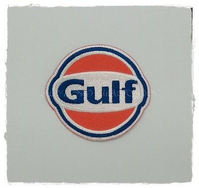 Gulf Gasoline Patch Sew On Iron Embroidered Car Oil Gas Fuel Racing Free Shippin