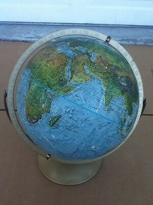 "Vintage Replogle Land & Sea True-To-Life 12"" Globe Raised Topography Metal Stand"