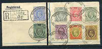 SOUTHERN NIGERIA 1910 ½d to 1/- vals on large registered piece tied Lagos cancel