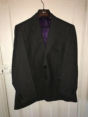 Paul Costello Grey 100% Wool Single Breasted Suit - 46R - Immaculate- Super 100