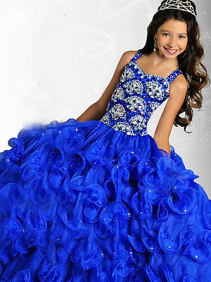 Girl Kids Pageant Dress Bridesmaid Dance Party Princess Ball Gown Formal Dresses