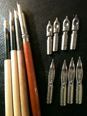 Four Dip Pens and nibs. Calligraphy.