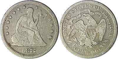 1877-S 25C Liberty Seated Quarter Fine +