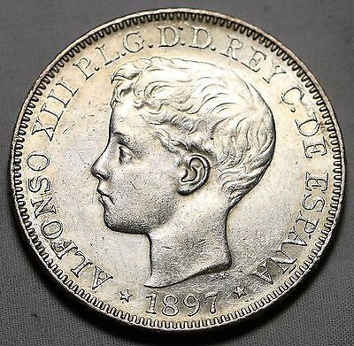 1897 Philippines Un Peso  High Grade W/ Some Mint Luster