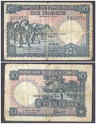 Belgian Congo 10 Francs 1944 in (VG) Condition Banknote P-14D