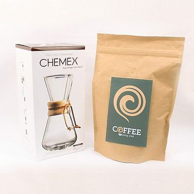 Chemex 1-3 Wood Neck Coffee Maker and Coffee of the Month