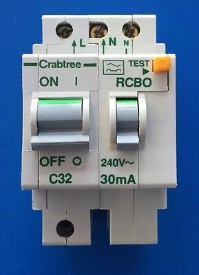 Crabtree Polestar RCBO 32 Amp 30mA Double Pole MCB/RCD Type 3 / C 32A 6023/323