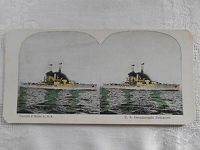 ANTIQUE Stereoview U. S. DREADNAUGHT DELAWARE MILITARY SHIP MULLER Stereocard