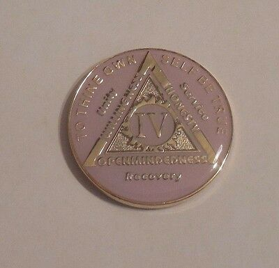 Tri Plate 4 Year Pink New Aa Alcoholics Anonymous Coin Medallion Token