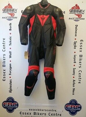Dainese Pro Tech One Piece Race Leathers Suit Flo Red Black UK 42 EU 52