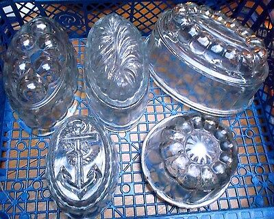 5 Vintage Glass Jelly Moulds incl. nautical
