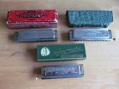 Collection of 3 vintage harmonicas