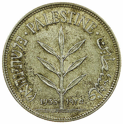 Palestine, 100 Mils, Middle East, Silver, 1935