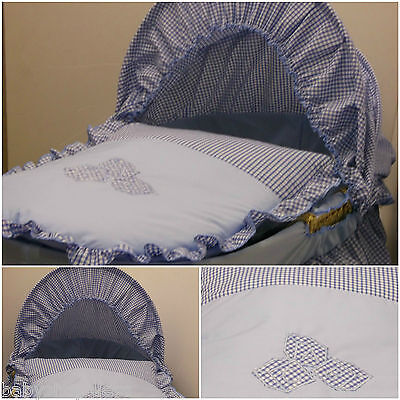 Replacement Moses Basket Dressing Covers Bedding Cotton Mix Blue Gingham Abc