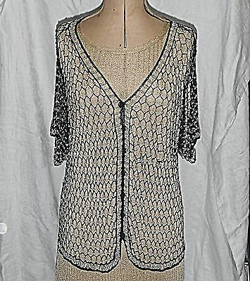 Vintage Black Silk Crochet Top Embellished With Silver Beads Very Stretchy