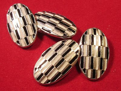 Stunning Black and white deco style double oval sterling silver cufflinks #J3