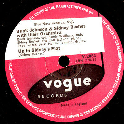BUNK JOHNSON & SIDNEY BECHET Up in Sidney's Flat / Lord, let me... 78rpm   X2612